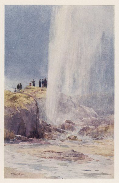 The eruption of Wairoa geyser in New Zealand