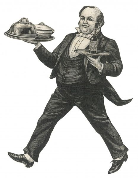 A waiter strides confidently bearing two trays