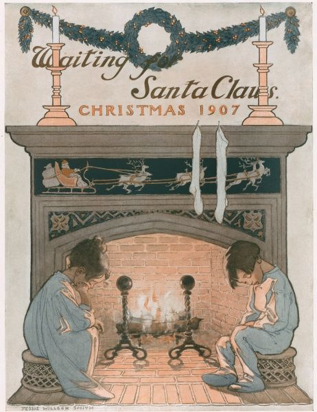 A colour illustration of two young children trying to keep awake for Santa Claus's visit