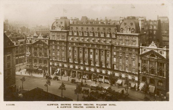 Pigeon's eye view of the WALDORF HOTEL, Aldwych, soon after its opening in 1908. It has 310 bedrooms and a Palm Court