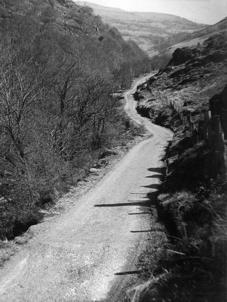 The wild and rugged landscape of Artists' Valley, Cwm Einion, Furnace, Cardiganshire, south Wales. Date: 1960s