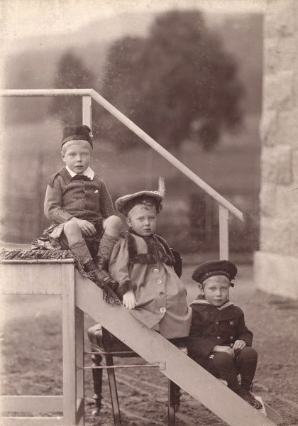 Charming portrait of the three eldest children of the Prince of Wales, later King George V. From left, Prince Edward of Wales, later King Edward VIII, then Duke of Windsor, next is Princess Mary, later the Countess of Harewood and then Prince Albert