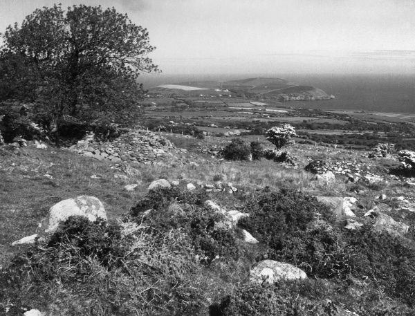 Coastal view to Dinas Head, from near Dinas, Pembrokeshire, Wales. Date: 1950s