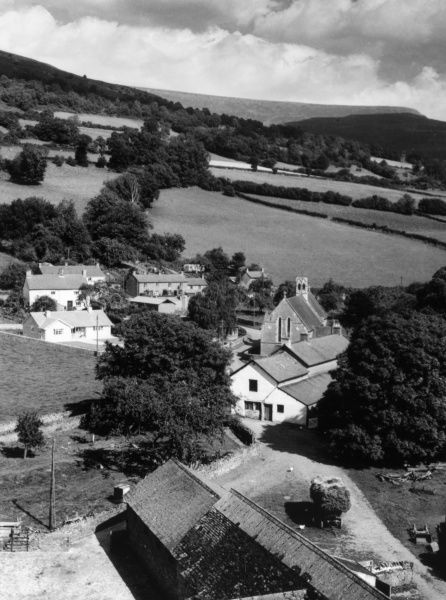 A fine view of Tretower village and the surrounding countryside, Breconshire, Wales. Date: 1950s