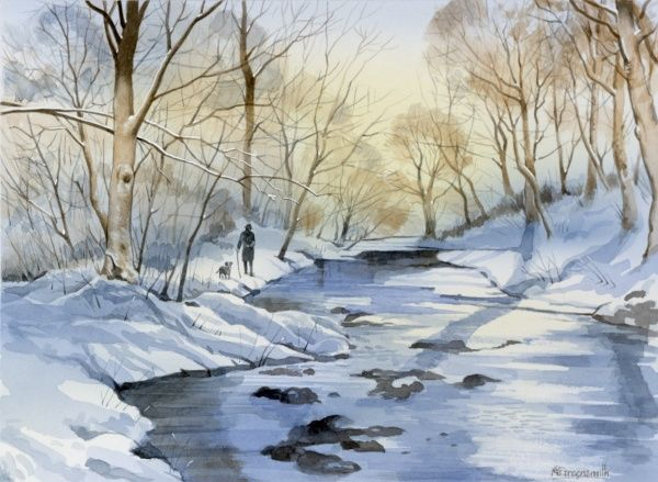 An old man with a walking stick walks his dog along the bank of an icy partly-frozen stream in this wintry scene. Painting by Malcolm Greensmith