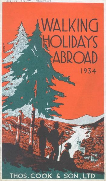 Cover illustration for Walking Holidays Abroad, Thomas Cook & Son Ltd. It depicts three walkers in silhouette against an alpine scene, with trees and snow-covered mountains in the background