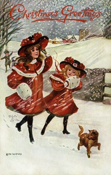 Walking through snow by Hilda Dix Sandford. Illustration from a postcard by Hilda Dix Sandford (1875-1946). She specialised illustrating children at play. Date: circa 1909