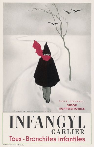 A child walks in the snow, risking coughs if not bronchitis - but Infangyl will take care of them