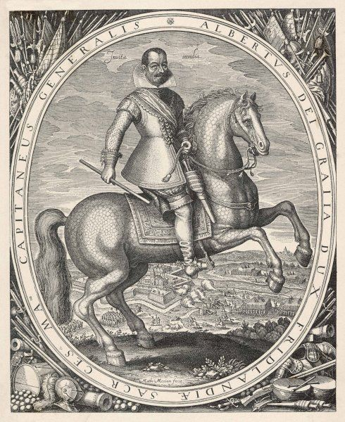 ALBRECHT VON WALLENSTEIN Austrian general, generally but not consistently loyal to the Emperor : depicted on horseback on the battlefield