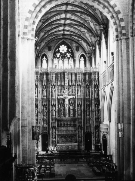 The Wallingford Screen, inside St. Albans Cathedral, Hertfordshire, England, is a Victorian reconstruction of the original screen which was destroyed in the Reformation. Date: reconstructed 1884 - 1889