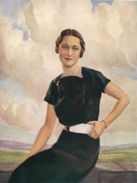 A colour illustration of Mrs Wallis Warfield (formerly Mrs Ernest Simpson) featured in The Sketch, prior to her marriage to the Duke of Windsor on the 3rd June 1937. The Duke abdicated from the throne as King Edward VIII in order to marry Wallis