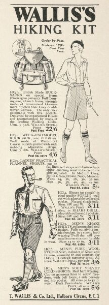 Advertisement for Wallis's hiking kit comprising rucksack, practical flannel shorts and men's pure wool stockings, all essential equipment for this pastime