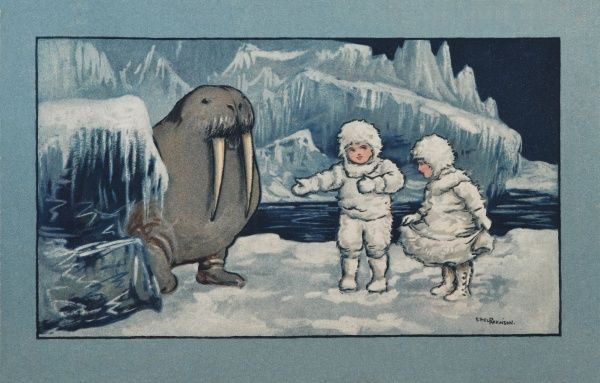 Two children, wrapped up charmingly against the cold in white, furry outfits, look fairly sanguine about meeting an enormous walrus. Then again, they are trudging around a glacier on their own