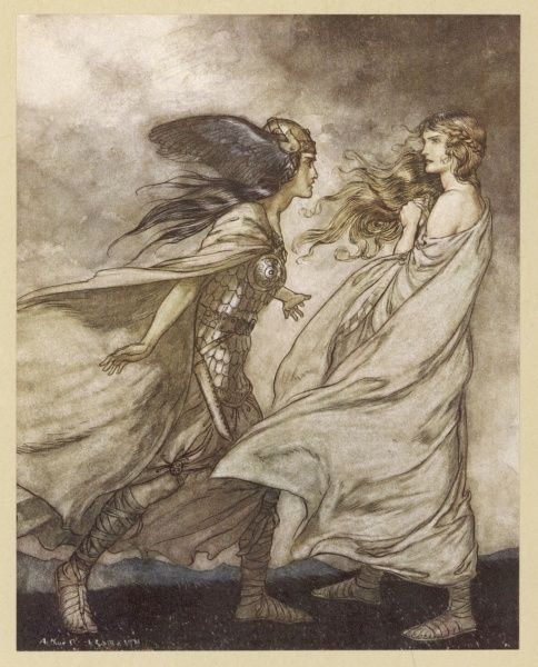 Act one : Waltraube begs her sister Brunnhilde to return the ring to the Rhinemaidens, but she refuses