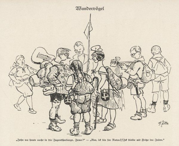 'WANDERVOGEL' Members of a German youth club gather before setting out on a hike - hiking became very popular in the 1920s