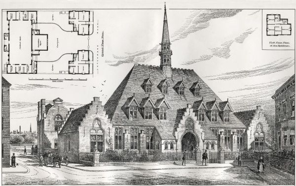 Architect's drawing of the Wandsworth & Clapham Union's new relief offices on Latchmere Road, Battersea. The building, erected in 1886, was designed by T.W. Aldwinckle. Date: 1886