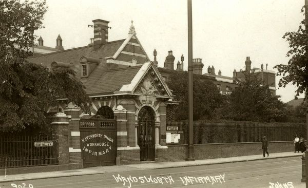 Entrance to Wandsworth Union workhouse infirmary, St John's Hill, south west London