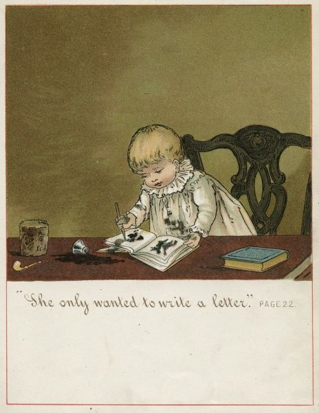 A toddler sits at his Fathers desk with pen and ink scribbling in a sketchbook. Date: 1882