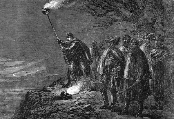 Night scene with Federal soldiers signalling with a flaming torch over the river banks of the Potomac to Headquarters at Washington