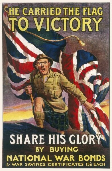World War One poster encouraging the public to do their bit by buying National war bonds to help fund the war effort