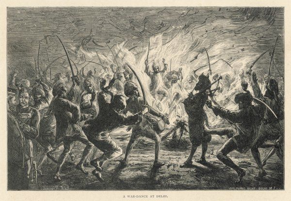 Walpurgis Night Delhi - a war dance. Men dance around a fire to the beat of drum