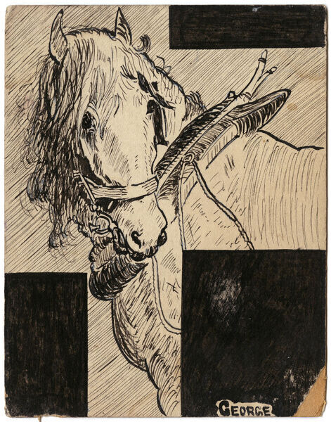 Lovely illustration of a noble looking horse, with a plough harness around its neck. Drawn by amateur soldier artist, George Ranstead, at the time of World War One, many horses used for the land were requisitioned by the Army