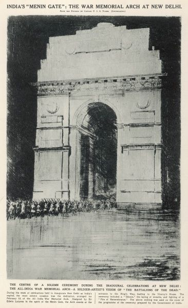 The centre of a solemn ceremony during the inaugural celebrations at New Delhi, the All-India War Memorial Arch