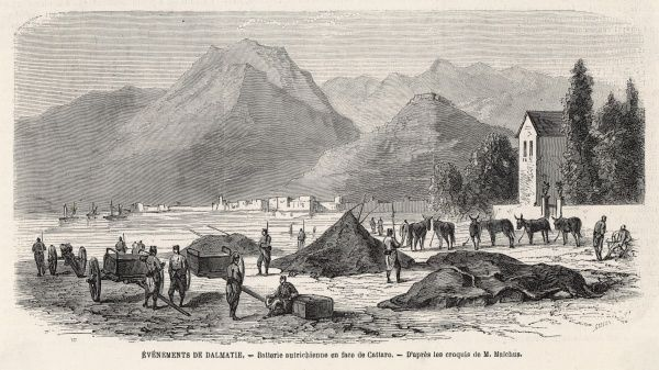 The Austrians help the Montenegrans in their struggle with the Ottoman empire : an Austrian battery opposite Cattaro