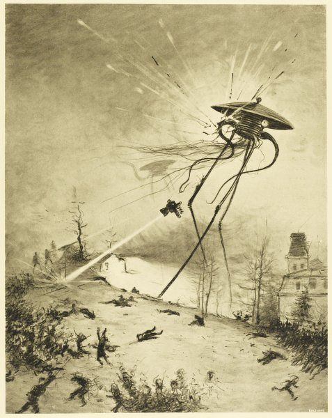 'THE WAR OF THE WORLDS' A Martian fighting-machine is destroyed by a hit from a shell