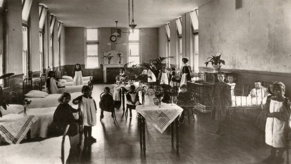 Interior view of ward D8 at Carshalton Children's Infirmary, Surrey