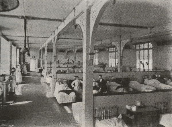 Interior of a ward at the Holborn Union Infirmary, Archway Road, Highate, North London, designed by Henry Saxon Snell and opened in 1879