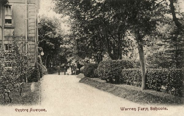 The Centre Avenue of Warren Farm School, opened by the Brighton Union in 1862 at Rottingdean, Sussex. The school housed pauper children away from the workhouse. The building later became known as Fitzherbert, and then as Our Lady of Lourdes