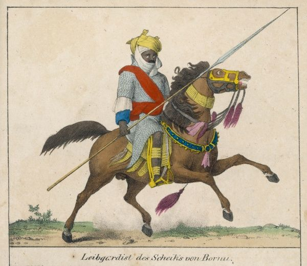 Mounted warrior from Bornu, Nigeria