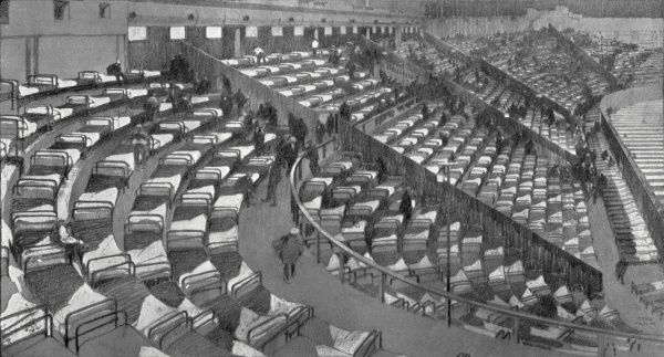 A First World War refugee camp for Belgian refugees at Earl's Court, West London. Around one thousand beds in the arena gallery were provided by the Metropolitan Asylums Board in 1914