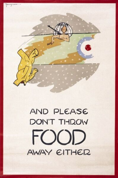 Second World War poster by Fougasse, encouraging people not to throw away clothing or food