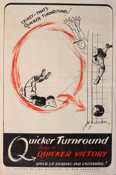 Wartime poster, Quicker Turnround helps to Quicker Victory. Speed up loading and unloading. Showing a footballer scoring a goal, to the consternation of the goalkeeper