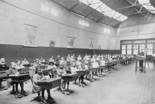 A schoolroom for the children of refugees set up by the Metropolitan Asylums Board at Earl's Court, West London, during the First World War