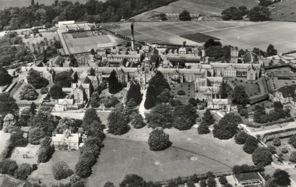 An aerial view of the Warwick County Mental Hospital at Hatton, Warwickshire, originally opened in 1846 as the Warwick County Lunatic Asylum. The site later became known as the Central Hospital