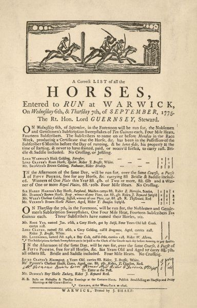 A correct LIST of all the HORSES entered to RUN at WARWICK, on Wednesday 6th & Thursday 7th of SEPTEMBER, 1775. The Rt Hon Lord GUERNSEY, Steward