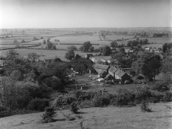 The hamlet of Northend, from the Burton Hills, Warwickshire, England. Date: 1960s
