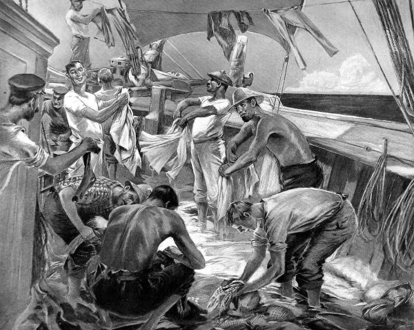 Illustration of the crew of a large sailing ship washing their clothes. When a rainstorm approached, the crew took the opportunity to stop up the deck drains and thereby accumulate several inches of fresh water on the deck. When the rain had passed