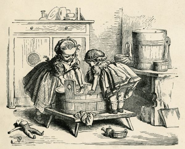Two little girls washing their dolls clothes in a tub. Date: 1882