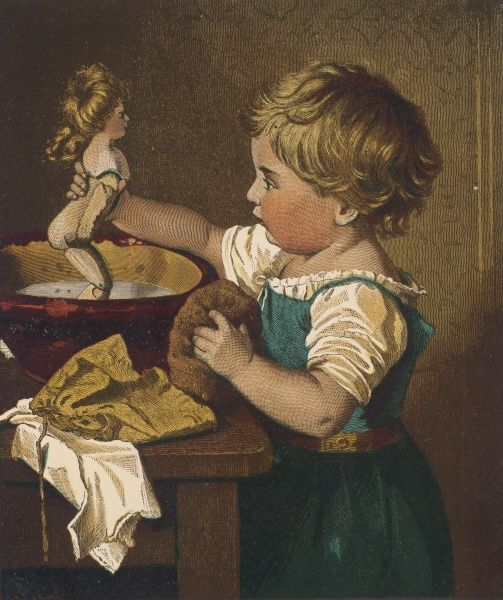 A boy washes his sister's doll