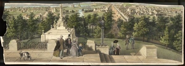 Sightseers admire the city of Washington as seen from the portico of the Capitol. The site was chosen in 1790 by the man in whose honour it is named