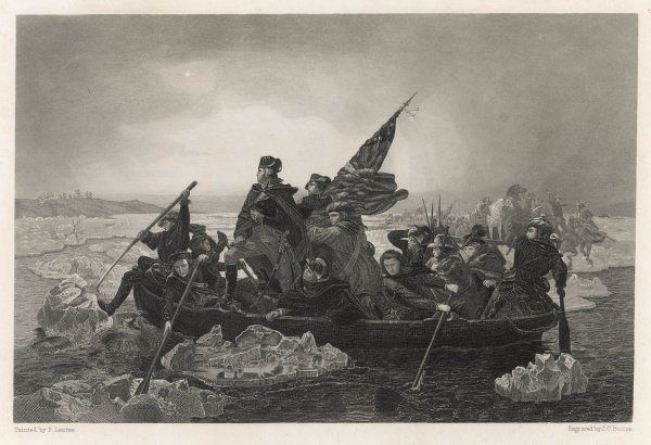 Washington and his army crossing the Delaware River, prior to the Battle of Trenton