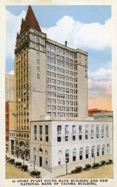 Washington D. C., USA - Story Puget Sound Bank Building and New National Bank of Tacoma Building. Date: circa 1910s