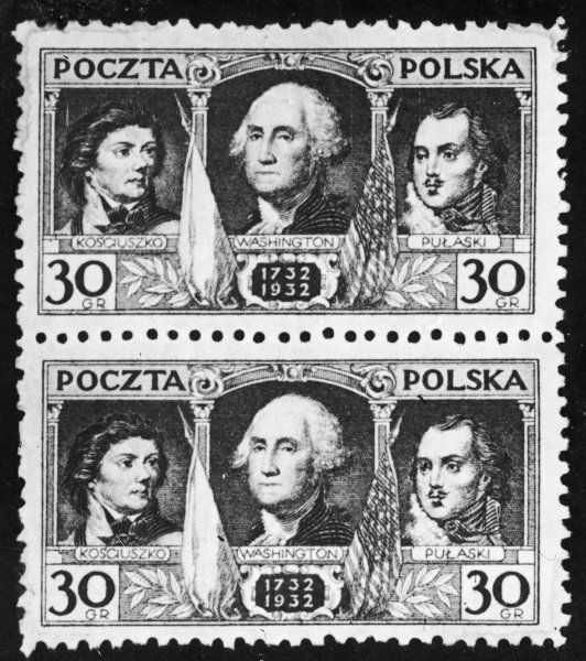 Polish stamps issued to commemorate the bicentenary of the Polish patriots Kosciusko and Pulaski, who fought with George Washington in the American War of Independence