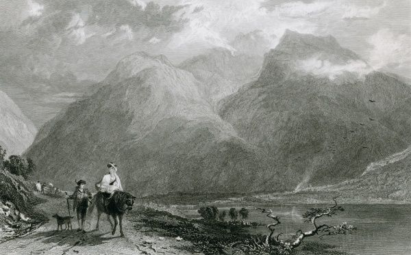 Countryfolk on the road in Wastdale, Cumbria -- Scafell is behind them. Date: 1834