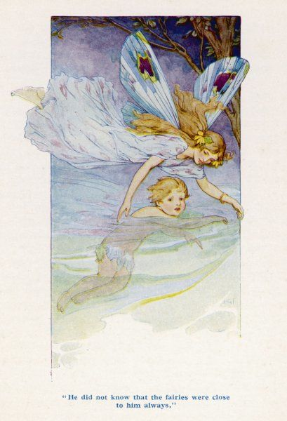 "Tom is guided along the stream by a fairy; ""He did not know that the fairies were close to him always.&quot"