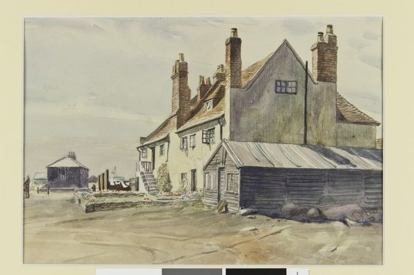 A watercolour sketch with buildings and a shed